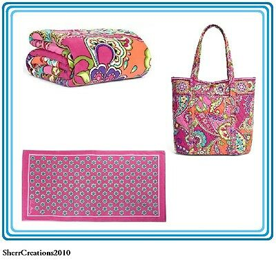 NWT Vera Bradley 3 Pc Lot Throw Blanket + Beach Towel + Vera Tote In Pink Swirls