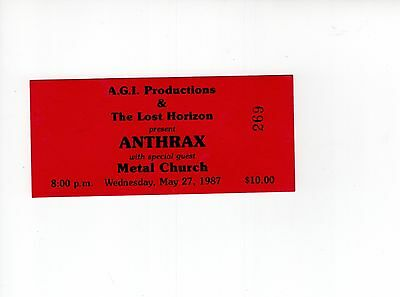 Anthrax Used Ticket Stub From 1987 Syracuse, Ny Concert       With Metal Church