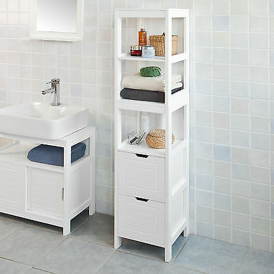 SoBuy® Tall Bathroom Storage Cabinet with 3 Shelves and 2 Drawers  FRG126-W,UK