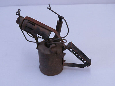 A2 - Vintage collectible BRASS Blow Torch WITH STEEL HANDLE PATINA RUST