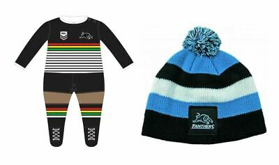Set Of 2  Penrith Panthers Nrl Team Long Footysuit Infant Romper + Baby Beanie