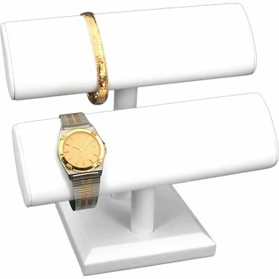 White Faux Leather Oval T-Bar Bracelet Watch Display