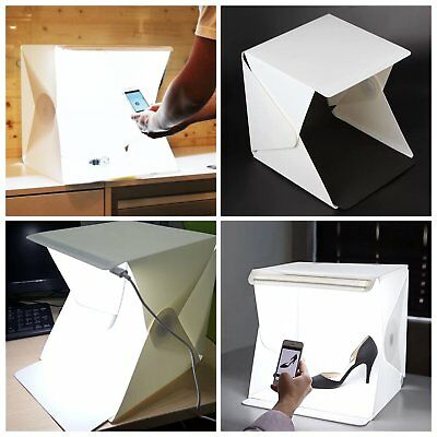 """9"""" 12"""" 16 """"Portable Photo studio Buil-in LED Light Photography Backdrop Cube Box"""