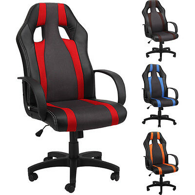 Office Chair Desk Racing Gaming Computer Chairs PU Leather Swivel Adjustable