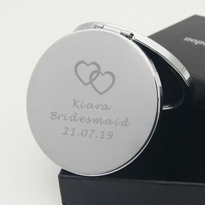 Personalised Engraved Compact Mirror Handbag Birthday Wedding Christmas Gift