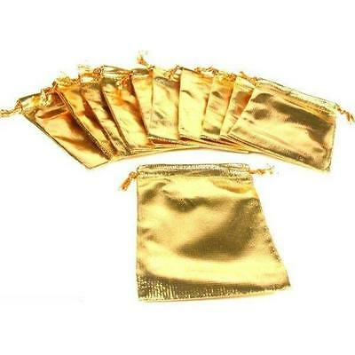 """12 Pouches Gold Gift Bag Drawstring Jewelry 4"""""""