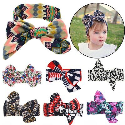 Bohemia Turban Bow Knot Headband Floral Print Hairband Baby Kids Children