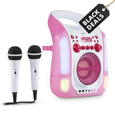 Karaoke Musik Kompakt Anlage System Cd Spieler Mp3 Player Led Usb Boxen Mikrofon