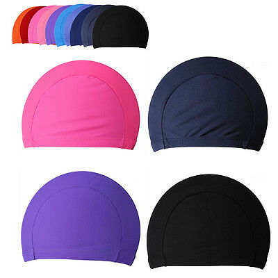 Swimming Cap Unisex Polyester Men Women Adult Swim Spandex Fabric Easy Fit Hat