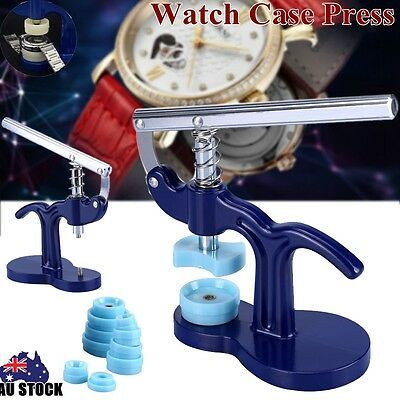 Pro Watch Back Case Cover Crystal Press Closer Watchmaker Jewelry Tool + 12 Dies
