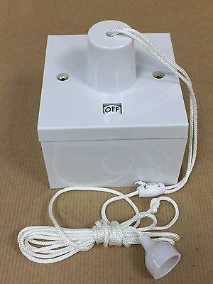 45amp Shower Pull Cord Ceiling Switch with Neon & Surface Pattress Back Box