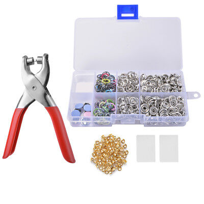 100 Set Metal Prong Ring Snap Fasteners Press Studs Poppers 9.5mm Pliers CR010