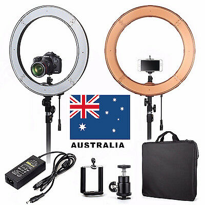 """ES240 18"""" 5500K Dimmable LED Adjustable Ring Light with Diffuser & Ball Head AU!"""