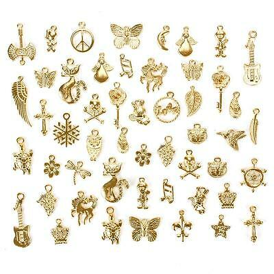 50Pcs/Set Gold Plated Mixed Styles Charm Pendants DIY Jewelry Craft Findings OC