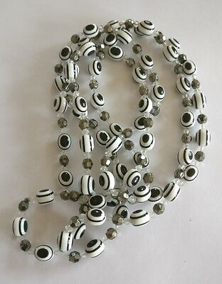 Vintage black and white lucite long bead necklace