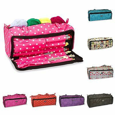 Large Knitting Craft Crochet Tote Bag Organiser Holdall - Various Prints