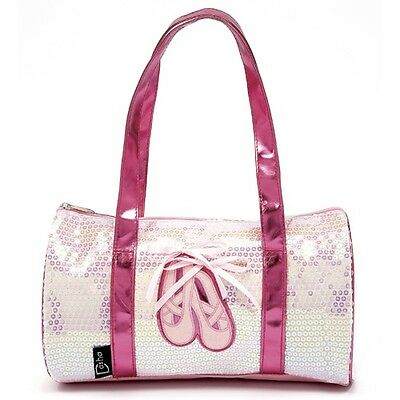 Dasha Designs Ballet Shoes Duffle Bag Opalescent Fuchsia Pink Sequin