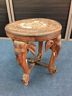 Antique Rosewood Anglo / Indian Side Table With 4 Elephant Head Legs