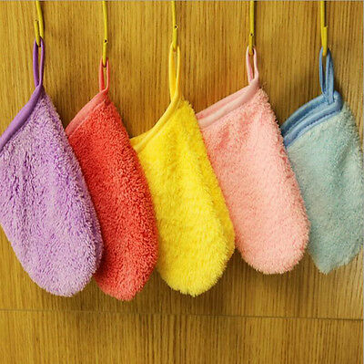 New 6 Colors  Microfiber Facial Face Towel Makeup Remover Cleansing Glove