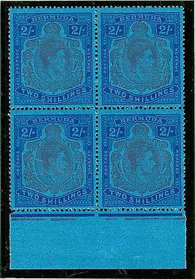 SG 116c Bermuda 2/- purple & blue/deep blue. A fine fresh mint marginal block...
