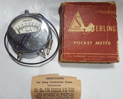 Vintage Collectible Sterling Brand Pocket Ammeter Volt Meter Combination