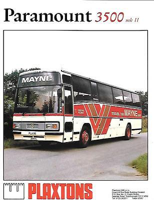 PLAXTONS PARAMOUNT 3500 MKII BUS COACH  SALES 'BROCHURE' SHEET MID 80's