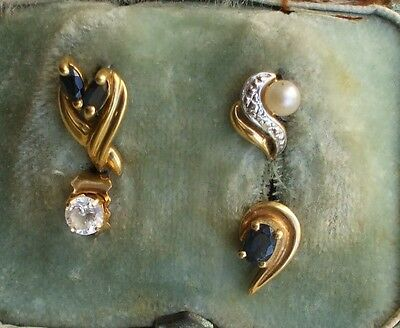Lot De 4 Boucles Oreille Depareillees Or Massif 18K Perle Saphirs .