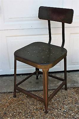 Antique Lyon Green Metal Industrial Chair Stool Steampunk