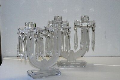 2 Heisey NEW ERA Candleabra's 7.75 Inch Tall Frosted Crystal
