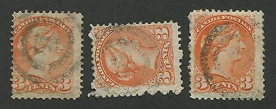 """Canada #41 Used Small Queens 2-Ring Numeral Cancel """"3"""""""