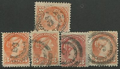 """Canada #37/41 Used Small Queens 2-Ring Numeral Cancel """"3"""""""