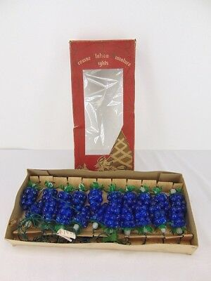 Vintage GRAPE CLUSTERS Genuine ITALIAN MINIATURE LIGHTS Vineyard String Boxed