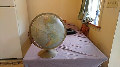 Vintage Replogle World Globe Land And Sea 12 Inch Diameter Raised Relief