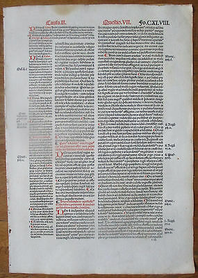 Decorative Post Incunable Leaf Law Gratian Decretum  Large Folio (1) - 1510