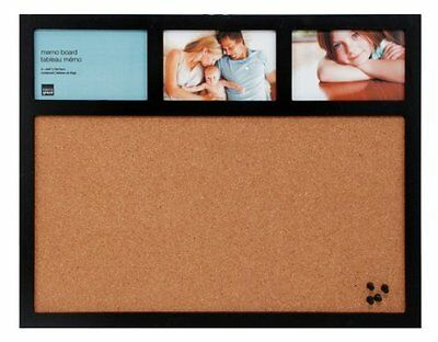 Cork Board & Collage Frame Combo w/ 4 Pushpins for Work Space & Office - 16x20""