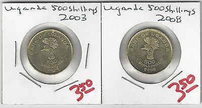 From Show Inv. - 2 VERY NICE 500 SHILLING COINS from UGANDA DATING 2003 & 2008