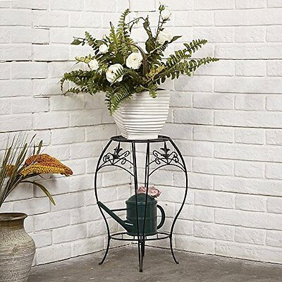 Plant Stand with Curved Legs and 2 Tiers Round Pot Holder Black 20 x 14 Inches