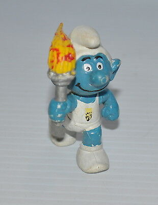 OLYMPIC SMURF PVC Figure Schleich vintage Promo Flame Runner SMURF 1980s