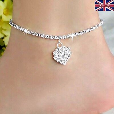 Diamante Simple Love 925 Sterling Silver Anklet Foot Chain Ankle Bracelet Charm