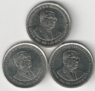 3 DIFFERENT 20 CENT COINS from MAURITIUS (2003, 2007 & 2012)