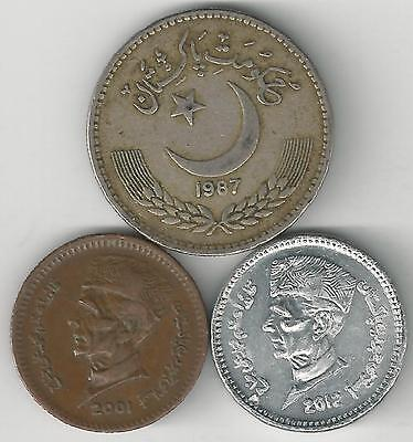 3 DIFFERENT 1 RUPEE COINS from PAKISTAN - 1987, 2001 & 2012 (3 TYPES)