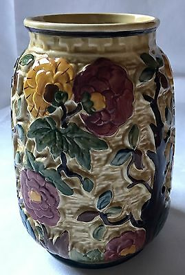 Beautiful H J Wood Indian Tree Vase Hand Painted Perfect Condition - 1962