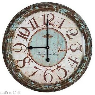"Large 24"" Rusty Turquoise Round Metal Wall Clock Shabby Chic Home Decor"