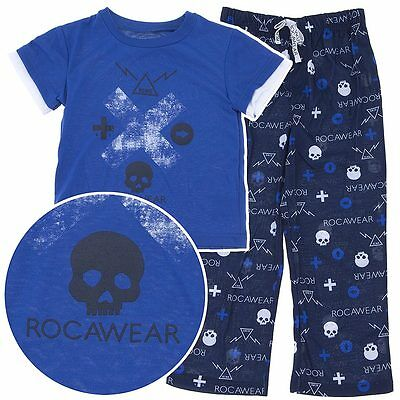 NEW Rocawear Blue and Black Pajamas for Toddler Boys with Skulls RCWR print