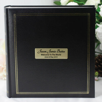 Personalised Baby Album - Black & Gold - Add a Name & Message
