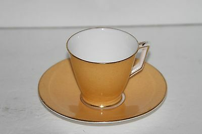 Crown Staffordshire Orange Teacup and Saucer Made in England