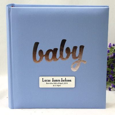 Personalised 'Baby' Album - 200 Blue - Add a Name & Message