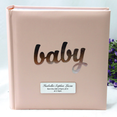 Personalised 'Baby' Album - 200 Pink - Add a Name & Message