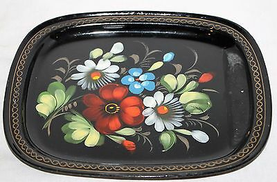 "Vintage Black Metal Serving Tray with Painted Flowers 8"" x 6 3/4"""