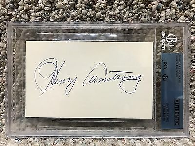 Henry Armstrong Signed Auto Boxing Index Card Hof Beckett Slabbed Rare +Photo